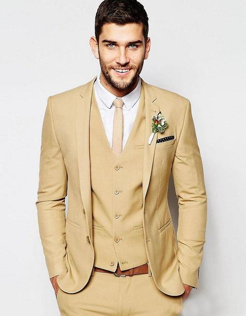 2019 Latest Coat Pant Designs Khaki Tan Men Suit Formal Slim Fit
