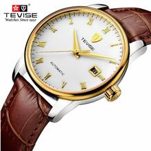 Mens Watches Top Brand Luxury TEVISE Men Watch Sports Calendar Clock Automatic Mechanical Leather Wristwatch relogio
