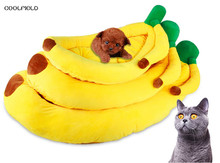 2018 NEW 100% Cotton Banana Shape Pet Cat Bed Sofa Padded dog bett Creative House Kennel with mat for dog letto per cani(China)