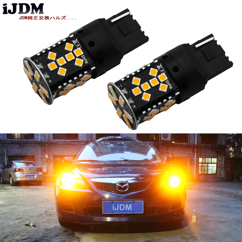 iJDM Canbus Error Free 7440 LED No Hyper Flash 21W Amber yellow W21W T20 LED Replacement Bulbs For Car Turn Signal Lights,12v 4 led 12v vehicle signal lights 2 pack yellow