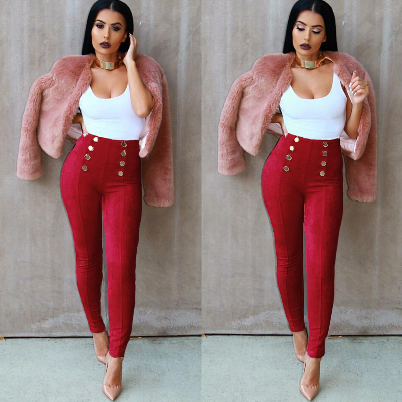 New Fashion Suede Women Pants Casual Wine Red Olive green Pink Outfit Clothing Shopping Apparel Christmas Pencil Pants Wholesale