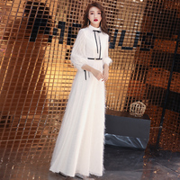 2019 Spring New Elegant A line High Neck Three Quater Lantern Sleeves Long Evening Dress White Feather Evening Gown Party Dress