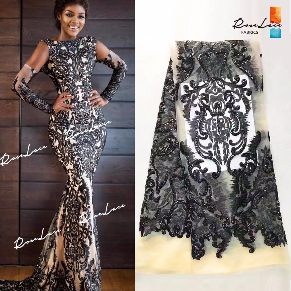블랙 스팽글 수 놓은 아프리카 메쉬 얇은 명주 그물 레이스 원단 우아한 디자인 나이지리아 장식 조각 guipure 이브닝 드레스 그물 소재-에서레이스부터 홈 & 가든 의  그룹 1