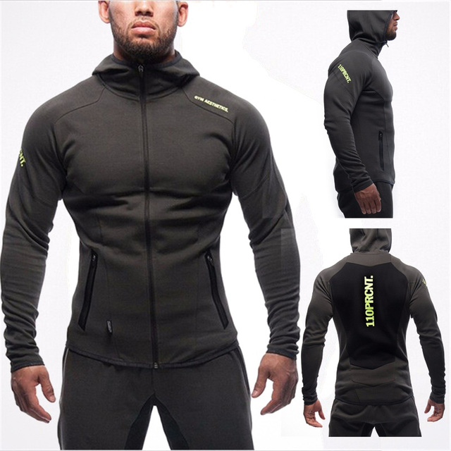 Casual Sweatshirt Muscle Men's Slim Fit Hooded Jackets