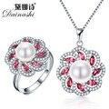 Dainashi 2016 nova 925 colar de pérolas conjunto de jóias de prata anéis belas jóias conjuntos de pérolas de água doce real pingentes de presente de natal