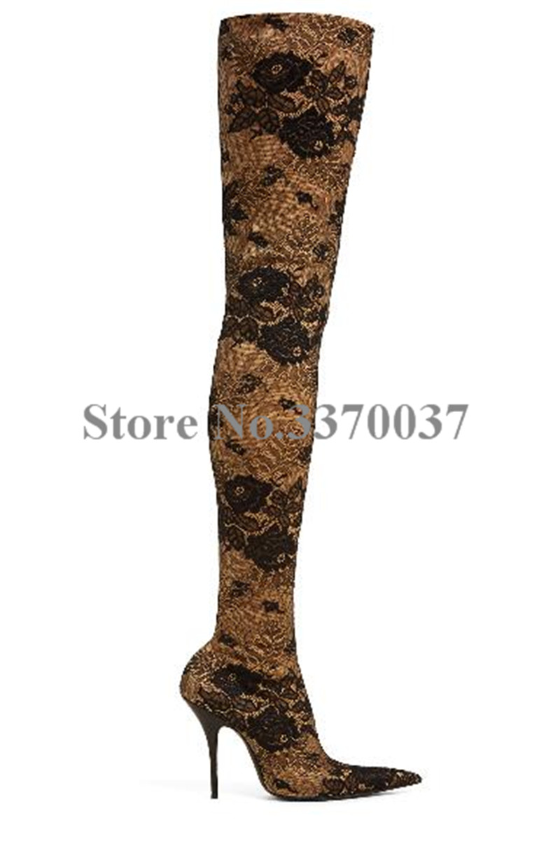 Women New Fashion Pointed Toe Printed Velvet Bandage Over Knee Boots Thigh High Slim Stretchable High Heel Boots Dress Shoes недорго, оригинальная цена