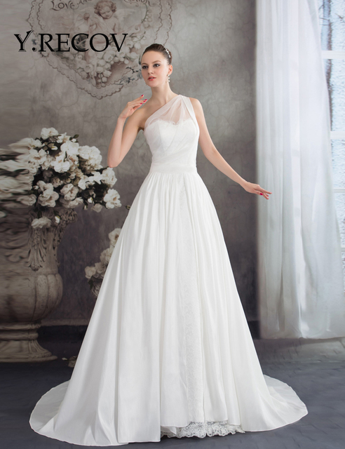 Cheap Wedding Dresses China Yd2091 One Shoulder White Lace Simple