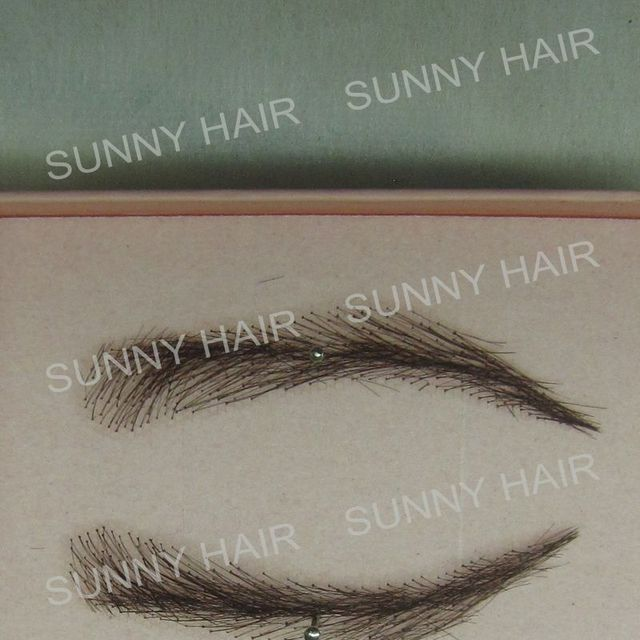 hand made human hair false eyebrow 015 black color hand knot fake eyebrow 4