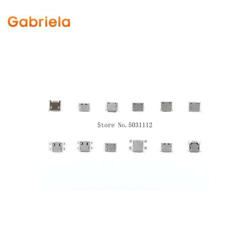 120 Pcs = 12 รุ่น Micro USB 5Pin usb ช่องเสียบปลั๊กแจ็คสำหรับ MP3/4/5 Huawei lenovo ZTE และโทรศัพท์มือถืออื่นๆ Tablete