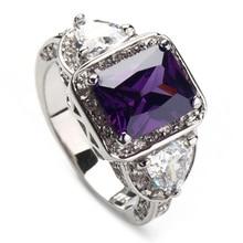 SHUNXUNZE Роскошные обручальные Обручальные кольца для мужчин и женщин фиолетовые радужные фианиты с родиевым покрытием R379 R3318 Размер 6 7 8 9