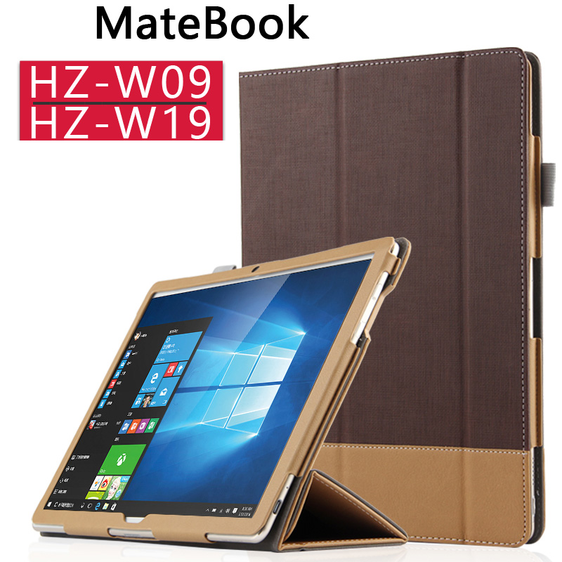 Ultra Slim 3-Folder Canvas Folio Stand PU Leather Shell Cover Protective Case For Huawei MateBook HZ-W09 HZ-W19 12 inch Tablet luxury print fold stand pu leather skin magnetic closure case protective cover for huawei matebook hz w09 hz w19 12 inch tablet