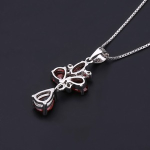 Image 3 - GEMS BALLET 3.42Ct Natural Red Garnet Flower Pendant 925 Sterling Silver Necklaces & Pendants Fine Jewelry For Women Wedding