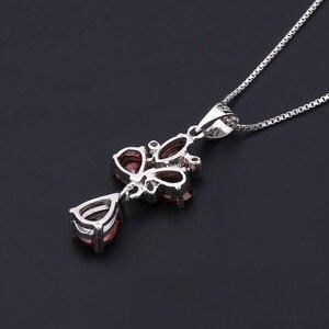 Image 3 - Pendentif fleur grenat rouge naturel, collier en argent Sterling 925, bijoux fins pour femmes, mariage, BALLET, 3.42ct