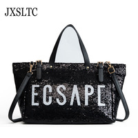 JXSLTC Fashion New PU Leather Sequins Traveling Bag Black Blue Woman Handbag Shoulder Bag Portable Ladies Handbag Weekend Bags