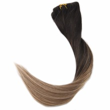 Full Shine  7Pcs 50g Clip In Hair Extensions Ombre Color #2 Dark Brown Fading To 6 And 18 100%Remy Human Hair Clip In Extensions