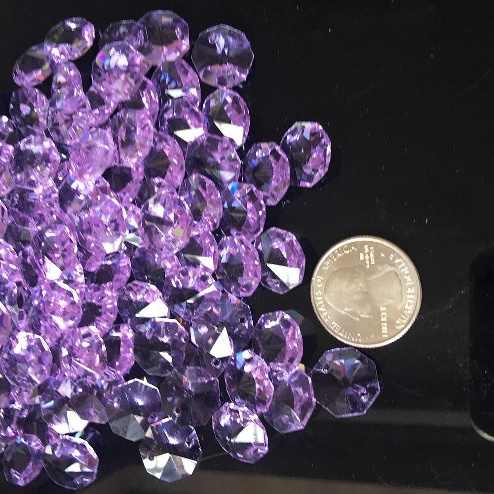 20Pcs Purple 14MM Octagon Beads Crystal Chandelier Part Lamp Prism Jewelry DIY