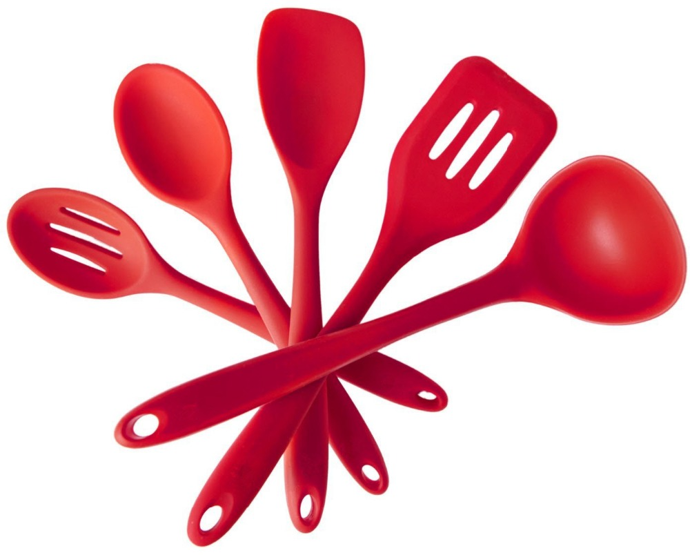 5Pcs/set Red Kitchen Silicone Utensils Set Tableware Cooking Tools Gadgets  Organizer For Household Kitchen