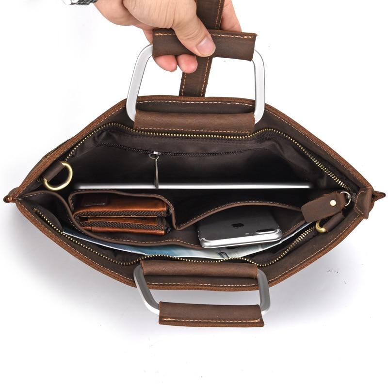 2019 Crazy horse mallette en cuir pour homme café couleur vintage hommes en cuir véritable sac messenger sacs d'affaires homme - 3