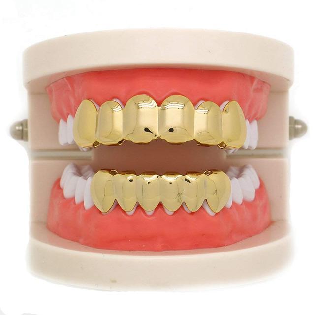 14k Gold Plated Hip Hop Teeth Grillz Caps 6 Top and Bottom Grillz Teeth Whitening Denture Paste False Teeth Veneers Dropshipping