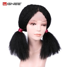 Wignee Lace Front Synthetic Wigs For Women Afro Kinky Curly Short Hair High Density Heat Resistant African America