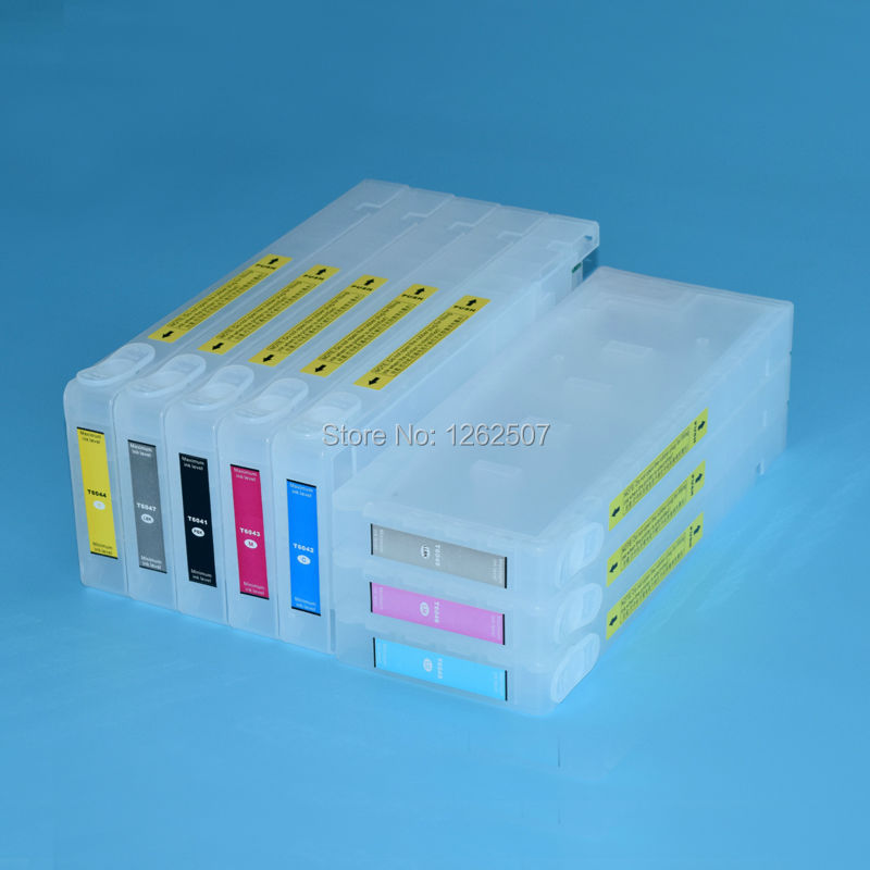 Bulk ink system! 350ml 8colors Compatible Refillable ink cartridge for EPSON 9800 Refillable cartridges with resettable chips 4 color set compatible ink cartridge t6142 t6143 t6144 t6148 with show ink level resettable chip for epson 4400