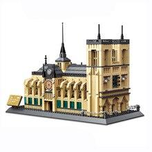 Mimari Notre Dame De Paris yapı taşları yapı şehir tuğla klasik Skyline Model hediye oyuncaklar hediyeler çocuklar için çocuk