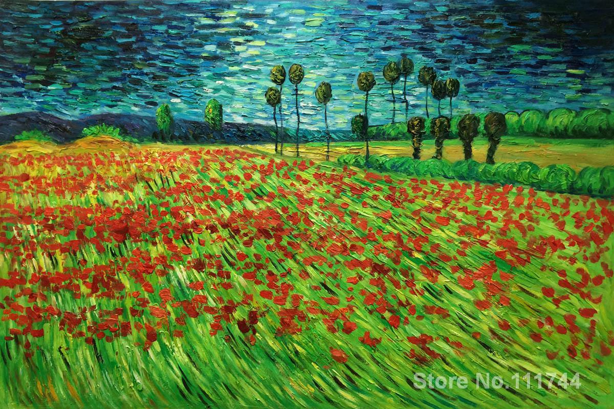 Arte pittura di paesaggio su tela di canapa Campo di Papaveri II dipinto a mano dipinto di Vincent Van Gogh opere di Alta qualità