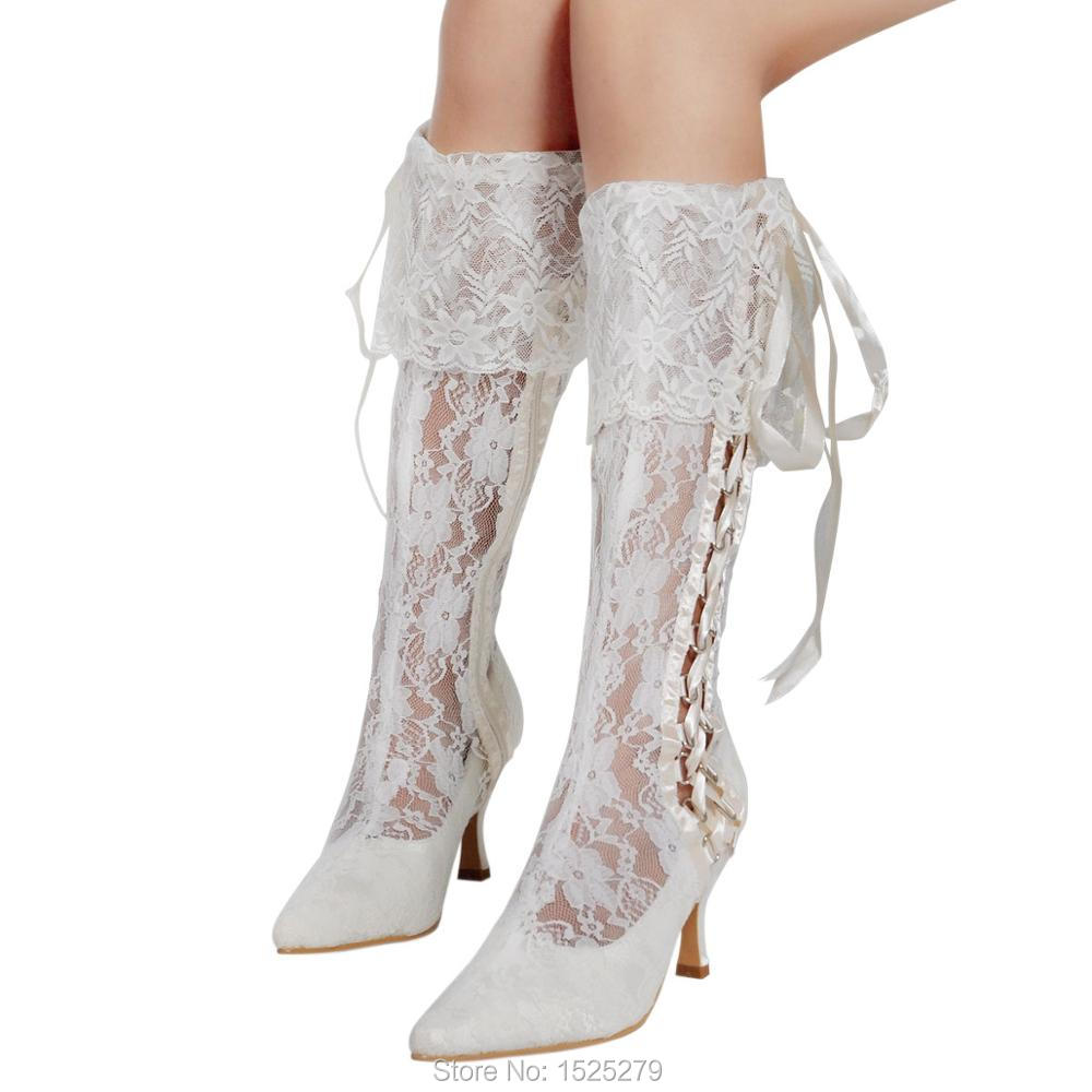 MB-081 Ivory Women Bride Shoes Knee-high Wedding Party Pointy Toe Ribbon Med Heel  Side Zipper Satin Soft Lace Bridal Boots woman shoes 014 ip white ivory lace shoes high heel pumps women wedding shoes for bride comfortable bridal heels with platform