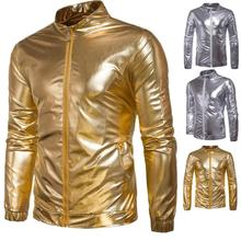 zogaa 2018 new Hot Sale New Style Mens Nightclub Casual Jacket Bright Coat Locomotive wind jacket gold