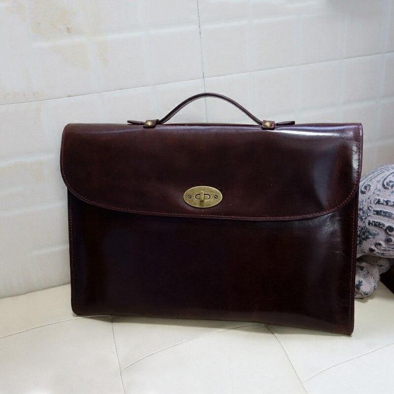 Genuine Leather Briefcase Business Handbag Laptop Bag Men's Retro Bag.