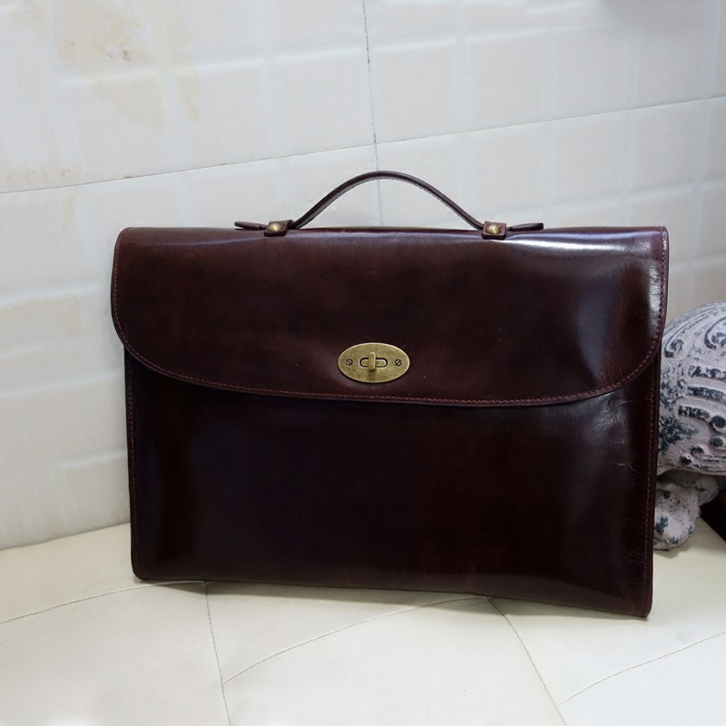 Genuine Leather Briefcase Business Handbag Laptop Bag Men's Retro Bag. image