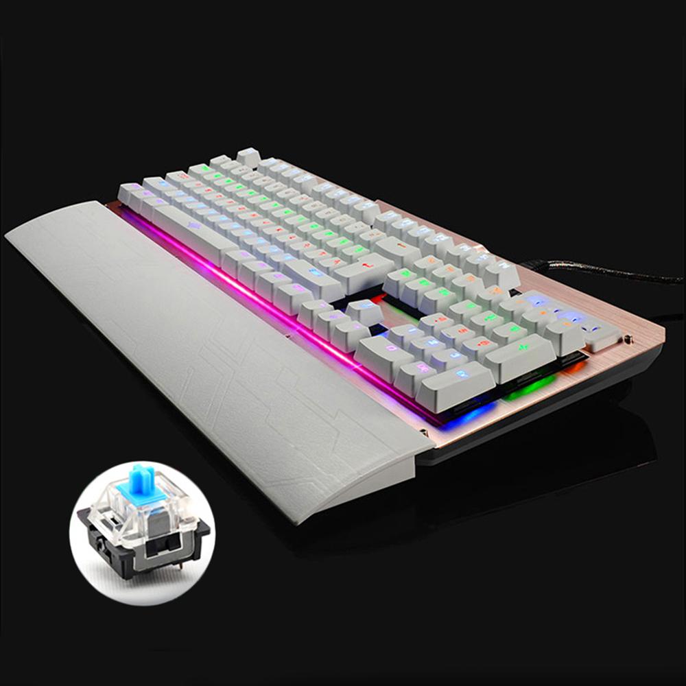 Prix pour Rétro-éclairé Jeu de Jeu Mécanique Clavier avec Filaire USB Port Bleu Commutateur LED Teclado Gamer Anti-ghosting Russe autocollant