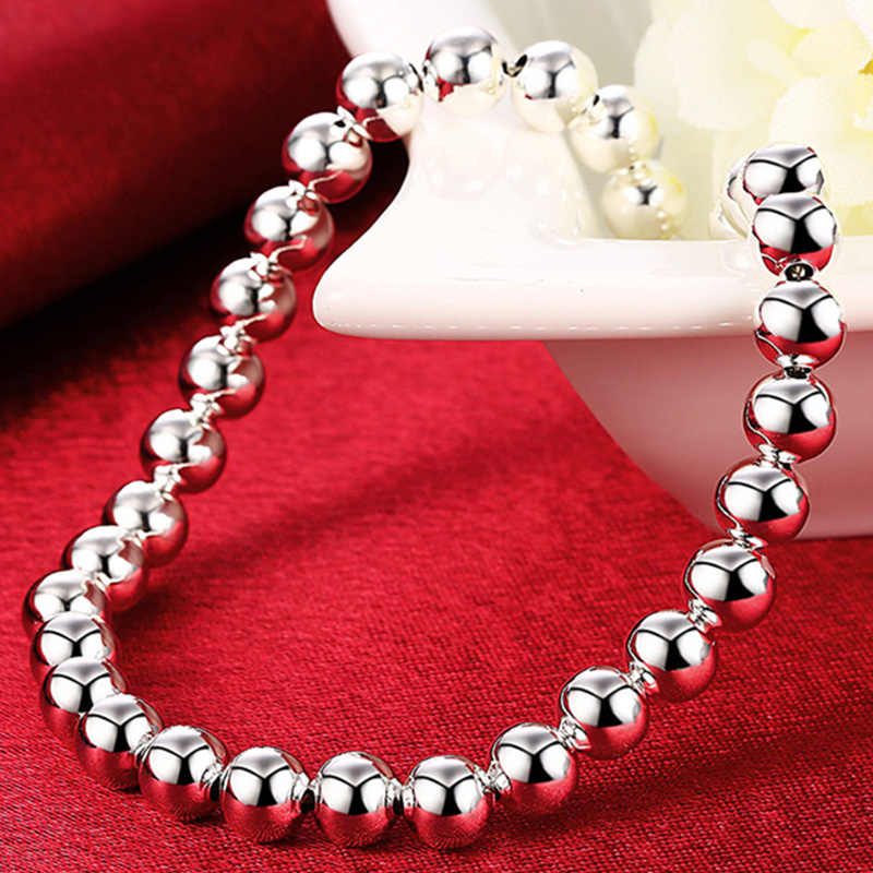 Doteffil 925 Sterling Zilver 6Mm Smooth Bead Chain Armband Fashion Charm Vrouwen Wedding Engagement Party Sieraden Verjaardagscadeau
