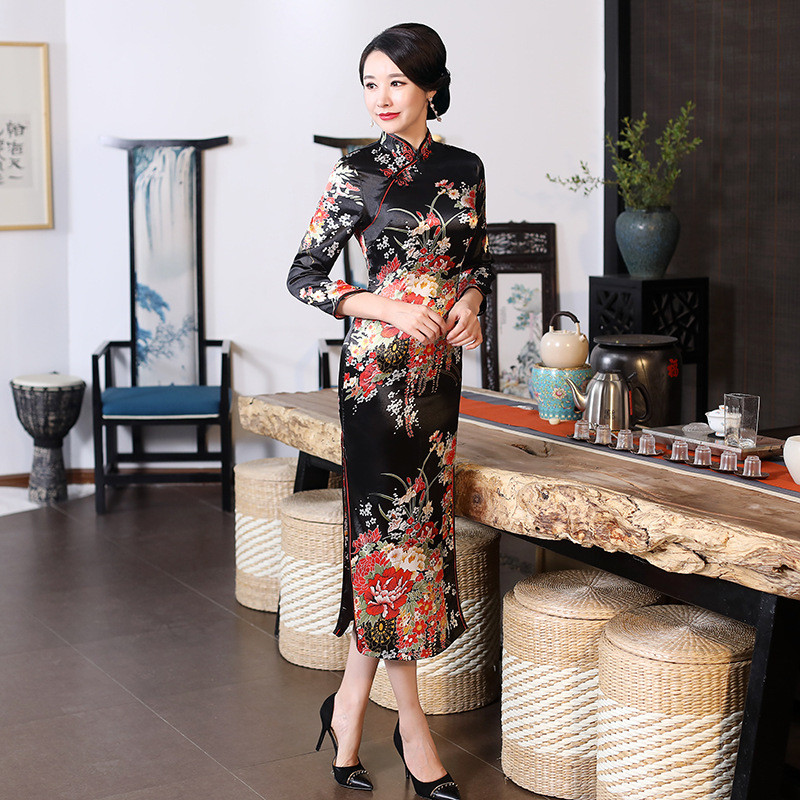 Plus Size XXXL Women Classic Cheongsam Rayon Floral Elegant Evening Party Dress Traditional Mandarin Collar Chinese Qipao