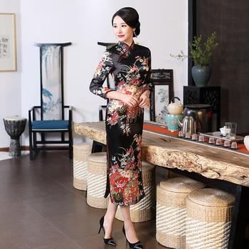 2e7c93afa Plus Size XXXL Women Classic Cheongsam Rayon Floral Elegant Evening Party  Dress Traditional Mandarin Collar Chinese Qipao