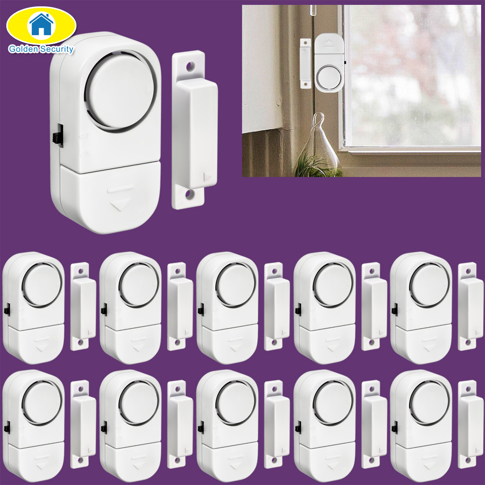 Golden Security 10Pcs 90dB Wireless Home Window Door Burglar Security Alarm System Magnetic Sensor for Home Security System 10pcs home security wireless window door magnetic sensor alarm warning system open detector wl 19bwt fuli