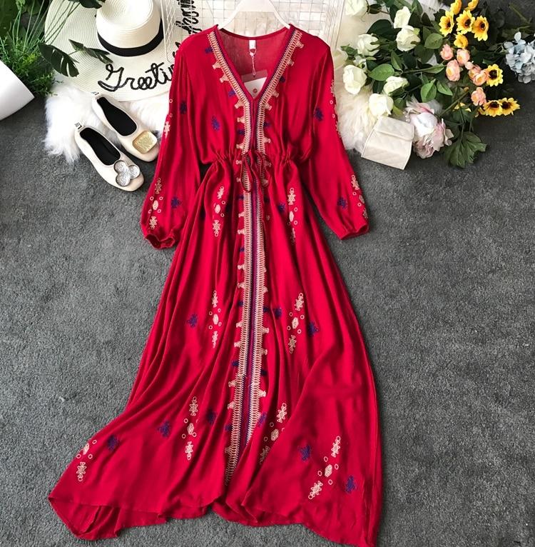 Женское платье большого размера, красное тонкое платье с вышивкой, 2019