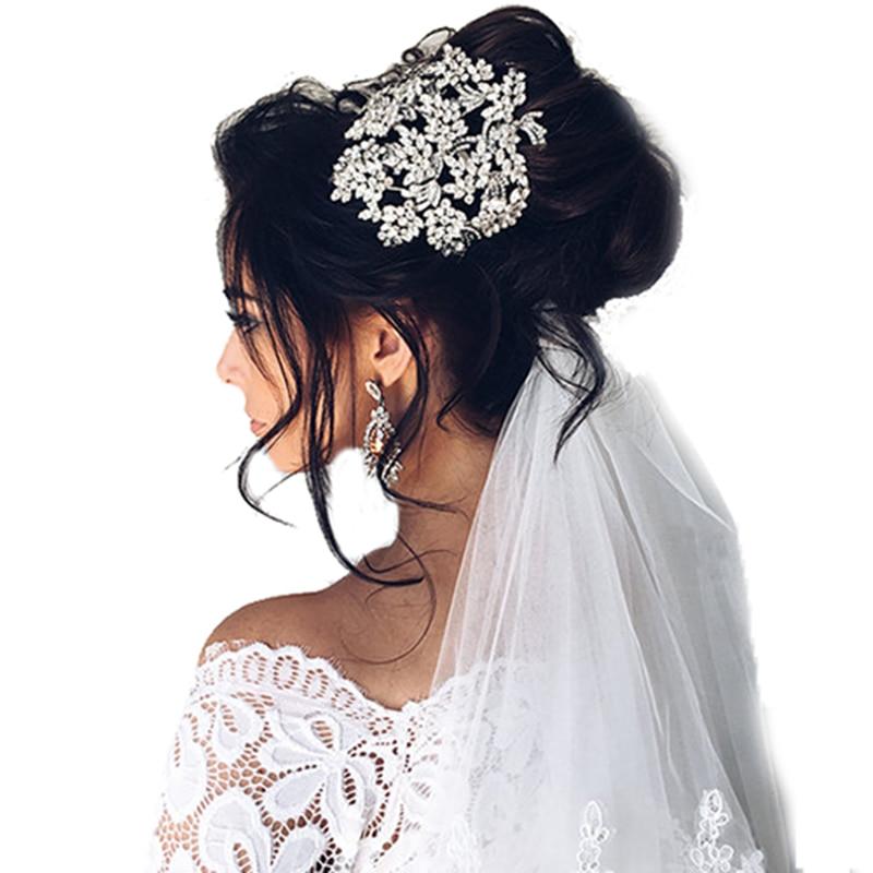 Hot europejskie wzory rocznika pełny kryształ liść Tiara akcesoria do włosów dla nowożeńców ślub Quinceanera Rhinestone korony korowód w Biżuteria do włosów od Biżuteria i akcesoria na  Grupa 1