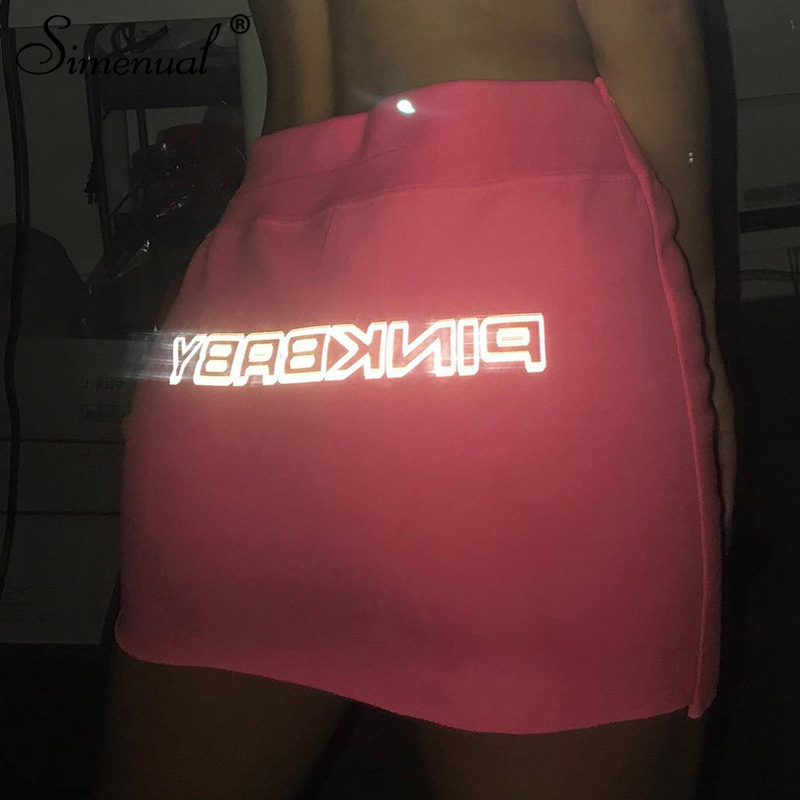 Simenual Letter Print Reflective Casual Skirts Women Sexy Athleisure Short Skirt Clubwear Neon Color Basic Bodycon Mini Skirts