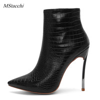 Mstacchi Brand Design Solid Black Women Pointed Toe Stiletto High Heels Shoes Booties Woman Boots Ladies Shoes Large Size 34 45