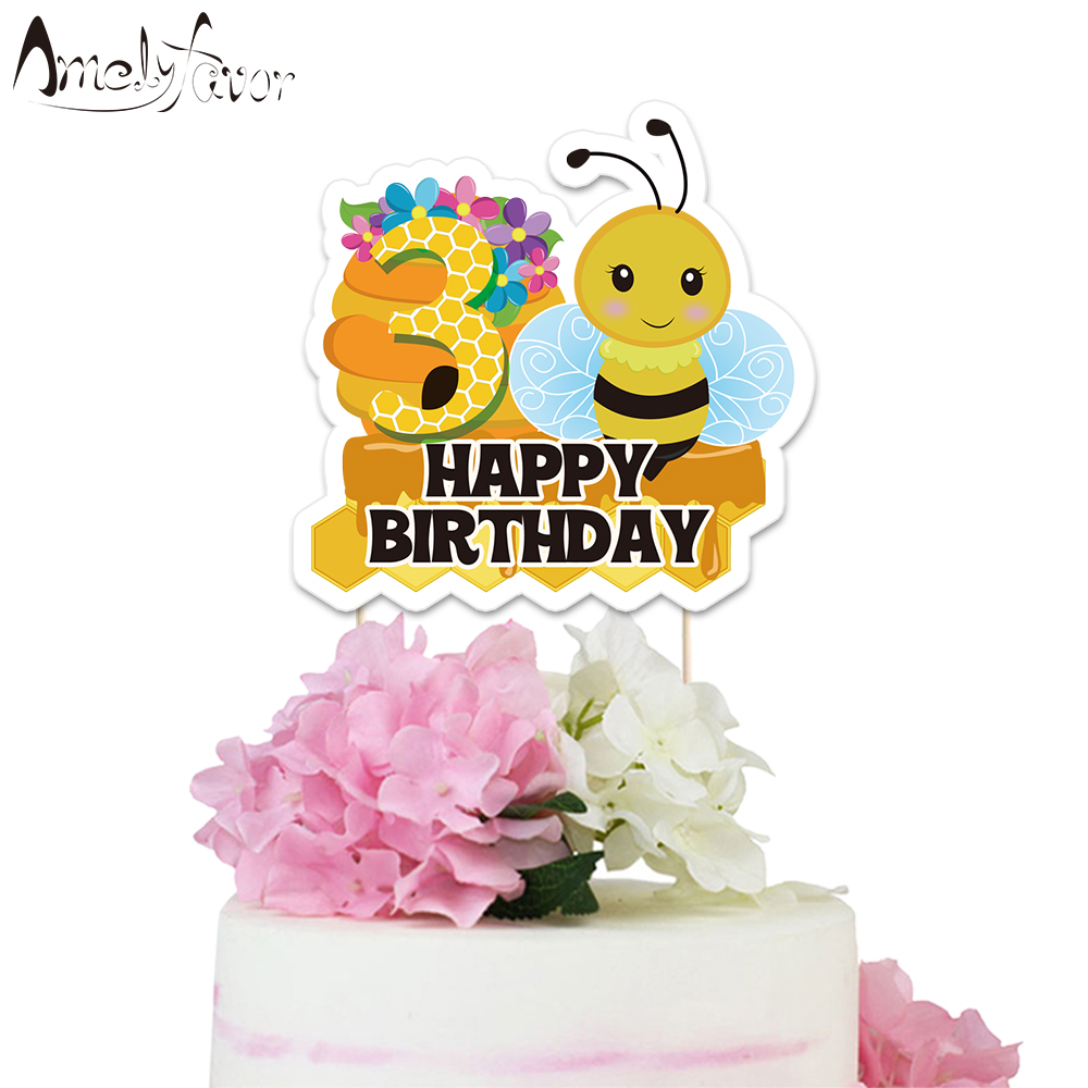 Insects <font><b>Bee</b></font> Theme <font><b>Party</b></font> Paper Cake Topper Honey <font><b>Bee</b></font> Baby Kids Event Happy Birthday <font><b>Party</b></font> Decorations <font><b>Supplies</b></font> Custom-Made Topper image