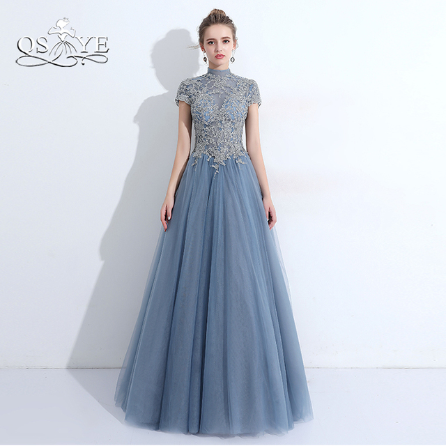 QSYYE 2018 New Arrival Long Prom Dresses High Neck Silver Lace ...