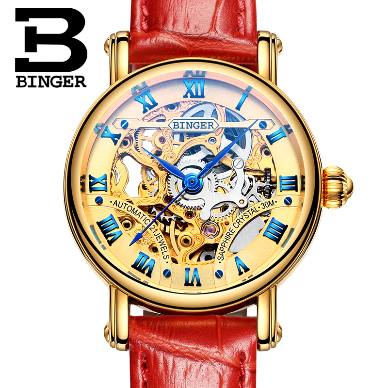 BINGER Automatic Watches Couple Watch Skeleton Women Watch Famous Brand New Fashion Ladies Dress Clock Men Wristwatch B-5066M