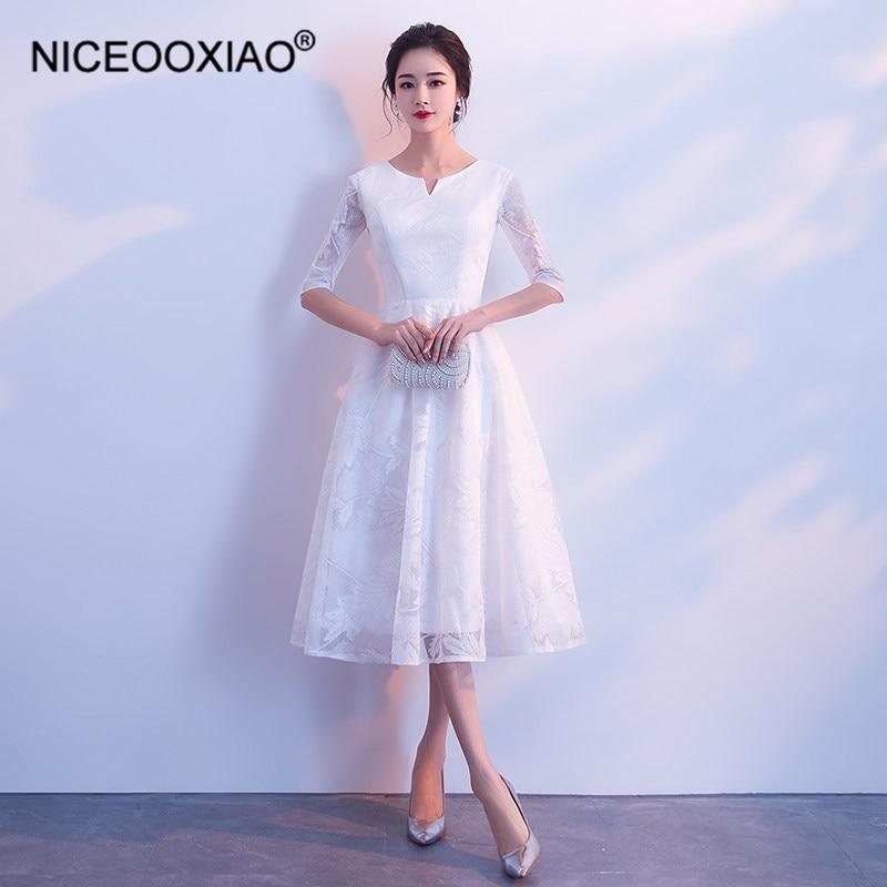 NICEOOXIAO 2019 New White Bridesmaid Dress Woman Party Elegant Atmosphere Zipper O-Neck Bow Bridesmaid Dresses BNLF611-76
