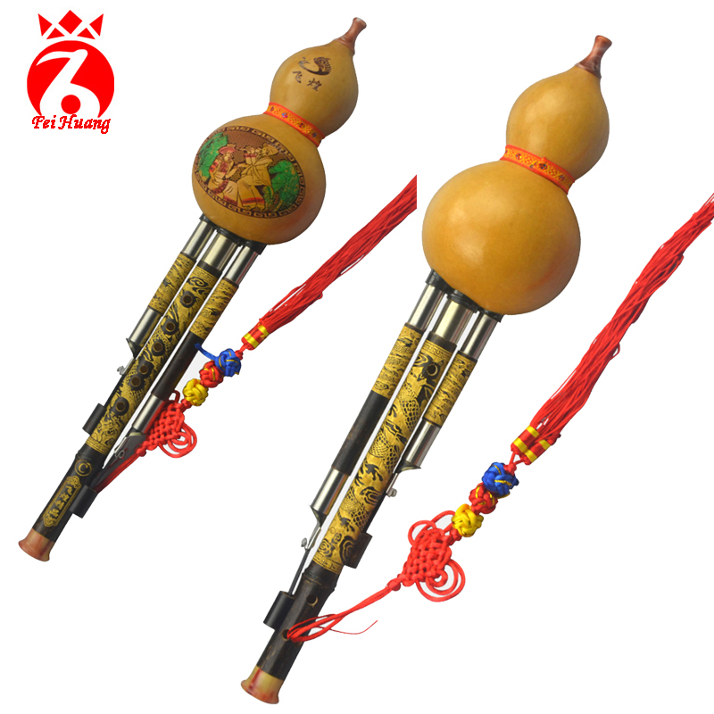 Hulusi Yunnan Traditional Instrument Chinese Natural Gourd Cucurbit Flute Musical Instrument Bamboo Instrument Key C Bb Tone F02 chinese traditional high quality detachable single pipe cross bblown flute bawu ebony ba wu key of g f c bb