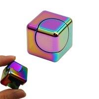 Colorful Alloy Cube Hand Fidget Spinner EDC Adult Metal Style Rubik S Cube Finger Stress Handspinner