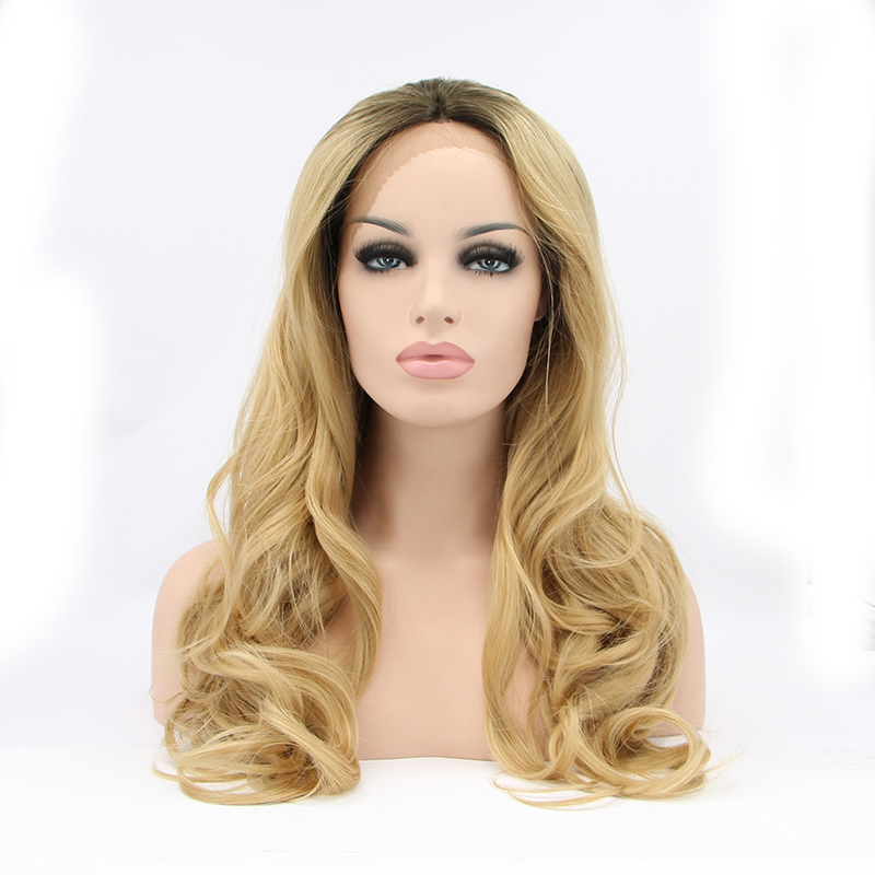 Synthetic Wigs Anxin Fashion Ombre Blonde Glueless Lace Front Wigs 2 Tone Color Light Brown Roots #12 Side Part Long Natural Straight Heat Resi Neither Too Hard Nor Too Soft Hair Extensions & Wigs