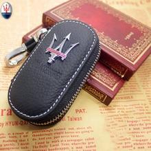 Ankunft männer Echte Echtem Leder Tasche Autoschlüssel Fall Abdeckung Brieftaschen Mode Frauen Keeper Halter Carteira Für Maserati 1