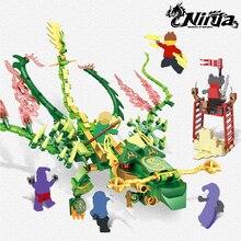 396pcs Ninja Dragon Knight Lloyd With Green Building Blocks Toys Compatible LegoINglys NinjagoINGLYs Bricks For Kids