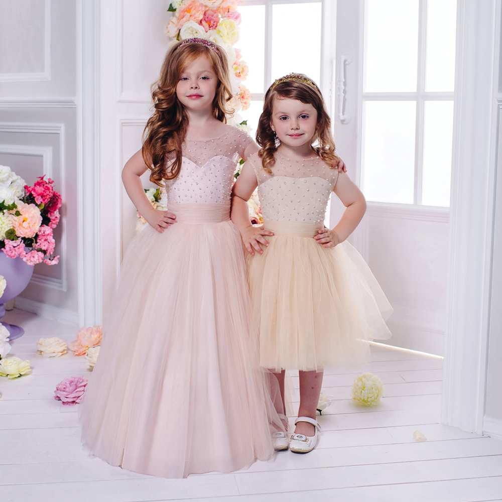 Flower Girl Dresses Pink Beading Ball Gown Sleeveless O-Neck Lace Up Solid First Communion Pageant Gowns Vestidos De Comunion gorgeous lace beading sequins sleeveless flower girl dress champagne lace up keyhole back kids tulle pageant ball gowns for prom